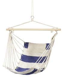 Wholesale Cotton Hanging Chair - Free shipping Pure cotton canvas swing Blue white Outdoor recreation swing Leisure Hanging Chair Send bags