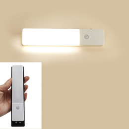 Wholesale Motion Sensor Battery Powered - Bright Ultra-thin Closet Light 3 Modes Motion Sensor LED Night Light Rechargeable Built-in Lithium Battery Powered Wall Sconce Light