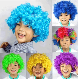 Wholesale Wigs For Carnival - 2016 Clown Wig Party Wigs Masquerade Halloween Christmas Explosion Head Colorful Ball fan Wigs For Kids Carnival Party Wigs DHL Free