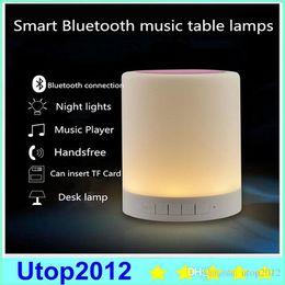 Altoparlante della lampada della luce del sensore di tocco online-Smart Wireless Bluetooth Speaker Stereo Touch Sensor Lampada da comodino Decor LED Dimmerabile Night Light Lettore musicale portatile