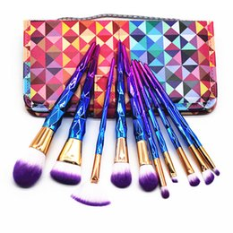 Wholesale Diamond Hand Bags - 10PCS SET Diamond Spiral Makeup Brush Set Professional Make Up Brushes Eyebrow Eyeliner Powder Brushes Tools with Colorful Hand Bag 3001095