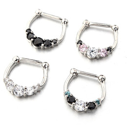 Wholesale Steel Nose Hoops - Five-Gem Septum Clicker 316L Surgical Steel 16g Nose Ring Nose Hoop Body Piercing nose piercing for women