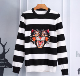 Wholesale Male Black Hair Styles - winter and autum new male best sale tiger striped long sleeved sweater and print hair men's sweater
