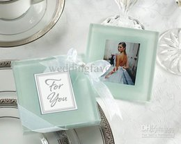 Wholesale Glass Coaster Wedding Decoration - DHL Free Shipping!100pcs=50sets lot,Elegant Glass Photo Coasters ,romantic wedding favors, party favors