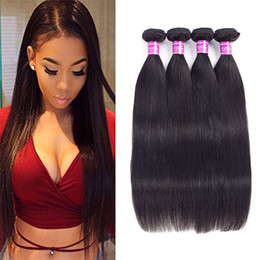 Wholesale Single Human Hair Extensions - Ushine Brazilian Straight Hair 3 to 4 Bundles Virgin 100% Unprocessed Human Hair Extensions Deal With Single Lengths Can Be Dyed