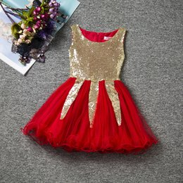 Wholesale Cute Childrens Clothes - Childrens Girls Cute Dresses Triangle sequins even clothes veil girl child gauze sleeveless dresses bitter fleabane bitter fleabane skirt