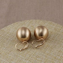 Wholesale 18k Gold Wire Wholesale - Big Wire Drawing CCB Ball Clip Earring Silver 18K Gold 2 Color Geometry Concise OEM ODM Wholesale