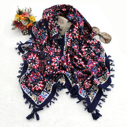 Wholesale Square Polka Dot Scarves - Hot selling floral geometric printing women square cotton scarf wraps with four sides tassels 6colors size 110x110cm