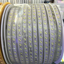 Wholesale Waterproof Led Rope Lights - 100m 110v 220v double row smd 5730 3014 2835 5050 led strips fita led strip light waterproof flexible ribbon rope white warm white