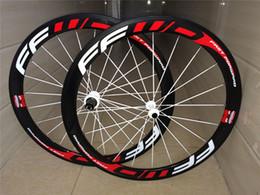 Wholesale Wheel Black 18 - New arrival FFWD 50mm Carbon Wheels 700C Road Bike black red color Carbon Wheelset Clincher basalt braking surface hot sales free shiping
