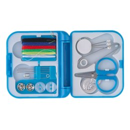 Wholesale Sewing Box Kits - 2016 NEW Complete Sewing Thread Needle Scissor Thimble Mini Plastic Storage Case Sewing Kit Tool
