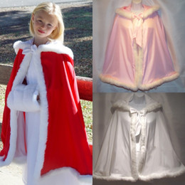 Wholesale Baby Red Cape - 2018 New Fur Flower Girls Hooded Cloaks Winter Wedding Capes Wicca Robe Warm Coats Little Kids Baby Jacket Christmas Gift