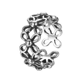 Wholesale Wholesale Vintage Stamping Jewelry - 5pcs lot Elegant Daisy Flower 925 Sterling Silver Hand Rings for Women Wedding Band S925 Stamp Jewelry Vintage Friendship Ring
