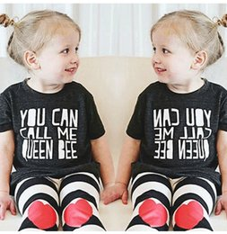 Wholesale Winter Clothings - INS New Girls Children Cotton T- Shirts + Pants Kids Baby Short Sleeve Tops + Striped Bottom Toddlers Letter T-Shirts + Trousers Clothings