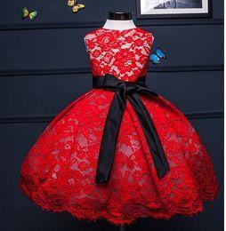 vestido de princesa bowknot sash Desconto Fofo vestido de noiva de renda vermelha doce para meninas, primeira roupa de festa de aniversário vestido de baile de bebê, vestido de batismo de baptizado artesanal