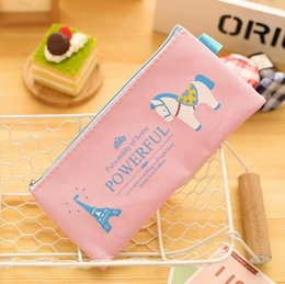 Wholesale Cartoon Cosmetic Case - New Cartoon Cute Horse Pencil Bag Rectangle Canvas zipper Pencil Cases Creative Student's Stationery Fabric Bags Cosmetic Bag Zero Wallet