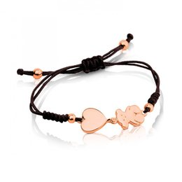 Wholesale Steel Braid - New Arrivals Pulsera Women Stainless Steel Silver Rose gold Heart Panda Charms Handmade Macrame Black cords braiding Brazalete mujer oso