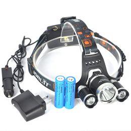 Wholesale Linterna Flashlight - Bourit RJ-3000 5000Lumens Linterna frontal LED Headlamp Head lamp T6 3 LED Headlight head torch flashlight + Battery+ Car  Charger