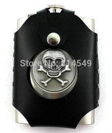 Wholesale Skull Hip Flask - Wholesale-8 oz stainless steel SKULL hip flask with bag