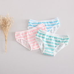 Wholesale Cute Pink Panties - Cute Girl Striped cotton elastic low waist briefs ( MIKU style Blue white   Green white   Pink white Striped Panties)