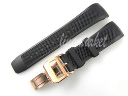 Wholesale C Clasp - diving silicone rubber strap 22 mm (Buckle 18 mm) the new black waterproof strap with Rose Gold clasp deployment for I-W-C