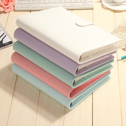 Wholesale Diary Covers - Wholesale- New Original Macaron Style Spot Color Notebook Leather Cover Multifunctional Journal Diary Stationery 01606