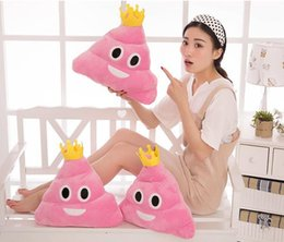 Wholesale Pillow Emoticon - 2016 New Cute Pillow Emoji Emoticon Cushion Shape Pillow Doll Toy Throw Pillow Amusing Poo Shape Cushion emoji pillows 35cm with crown