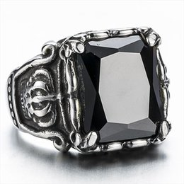 Wholesale Crown Rings For Men - New Top Quality Titanium Steel Rings Finger Gem Stone Crown Punk Style 316L Stainless Steel For Men Ring Party Birthday Jewelry