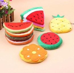 Wholesale Purse Cute - 10.5cm new emoji fruit watermelon orange kids Coin Purses cute yellow smile emoji coin bag plush pendant child zipper wallet free ship