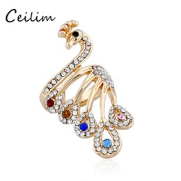 Wholesale Full Midi - Luxuriant full crystal peacock big rings for women gold plating alloy midi rings colorful rhinestone engagement ring 2017 fashion jewelry