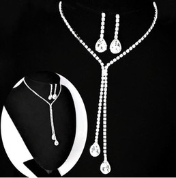 Wholesale Ear Necklace Set - Bridal Jewelry Wedding Bridal Rhinestone Accessories Necklace and Earring Ear Stud Style Sets Silver Plated New Without Tags