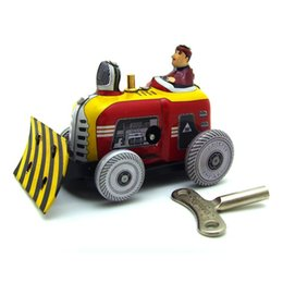 Wholesale Classic Fun - Classic Vintage Clockwork Bulldozer Nostalgic Wind Up Children Kids Tin Toys With Key Fun Toy Gift For Children