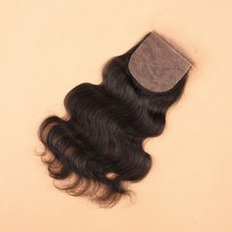 Wholesale Silk Base Closure Middle Part - 8A Body Wave Cheap Silk Base Closure Brazilian Hair 4*4inch Bleached Knots Free Middle Three Part Peruvian Silk Base closure