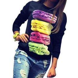 Wholesale Fresh Hoodies - Wholesale- Hot ! Women Long Sleeve Fresh Hamburger Printed Tops Casual Hoodies Sweatshirt Tops