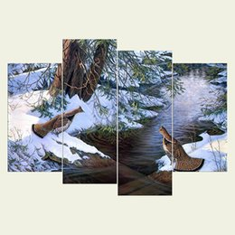Wholesale Art Oil Canvas Bird - (No frame) Bird two series HD Canvas print 4 pcs Wall Art Oil Painting Textured Abstract Pictures Decor Living Room Decoration