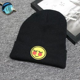 Wholesale beanies clothing - Emoji Knitted Caps Baby Kids Emoticons Hats New Fashion Winter Beanies Clothes Apparel Accessories Black Color