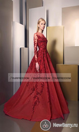 Wholesale Chrismas Girl - Ziad Nakad 2016 Women Formal Evening Dresses Sheer Crew Neck Long Sleeve Appliques Beaded Long Prom Occasion Dresses Girls Pageant Gown