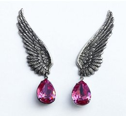 Wholesale United Wings - Europe and the United States foreign trade new retro personality angel wings water crystal jewel tassel ear clip earrings