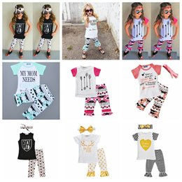 Wholesale Girl Holiday Outfits - Girls Outfits Tee Shirt Top and Ruffle Pants IG Tendy Girls Clothes Funny Graphic T with Icing Pants Aussie Christmas Holiday Beach Wear