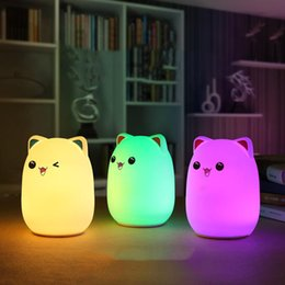 Wholesale Babies Night Lights - New Colorful Silicone Soft USB Rechargeable Animal Night Light Cute Cat Table Lamp Adults Children Baby Bedroom LED Light Nursery Night Lamp