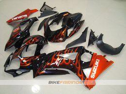 Wholesale Suzuki Gsxr K7 - New ABS motorcycle Bodywork For SUZUKI GSXR1000 2007 2008 K7 GSXR-1000 07 08 GSX-R1000 GSXR 1000 07 08 Fairing Kit Body black orange flame