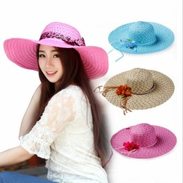 Wholesale Purple Cloche Hat - Fashion New Women Wide Brim Straw Hat Foldable Floopy Summer Beach Cloche Sun Cap Sun Protection Hat Whosale