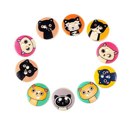 """Wholesale Cartoon Wood Buttons - Random Mixed Natural Color Cartoon Cat Printed Wood Buttons 2 Hole For DIY Craft Scrapbooking Sewing 15mm(5 8"""") Pack Of 100pcs I323L"""