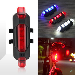 Wholesale Cycle Light Waterproof - Bicycle 5-LED 4 Mode Red Front Tail Warning Light Bike Cycling Warning Lamp Waterproof free shipping