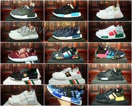 Wholesale Diamond Sneakers - Nmd Runner Brand Customs Kaws Diamond Sea Wave Black Blue Mens Women Running Shoes Sport Nmds r1 Primeknit Trainers Designer Sneakers 36-45