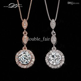 Wholesale vintage pave - Vintage CZ Diamond Necklace Micro Pave 18K Rose Gold Platinum Plated Necklace & pendants Crystal Wedding Jewelry For Women DFN428   DFN429