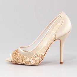 Wholesale Custom Sequin Shoes - Ivory Sequin Wedding Shoes Peep Toe Summer Mesh Bridal Pumps Handmade Custom Made Women Sandals Thin Real Image