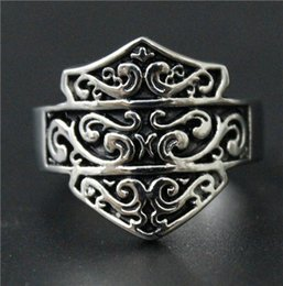 Wholesale Special Wedding Jewelry - Size 7-14 Mens Womens 316L Stainless Steel Jewelry Silver Golden Motor Biker Shield Ring Good Quality Special New Biker Ring