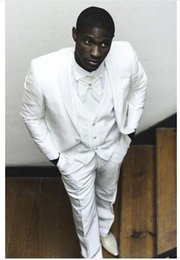 Wholesale Modern Suits For Men - Modern Wedding Suits 4 pcs Wedding Suits for mens White Mens Tuxedo Bridegroom Suit Men Jacket+Pants+Vest Custom Made Plus Size