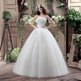 Wholesale Lace Up Shirts For Women - Under $100 In Stock US 2-10 Ball Gown Tulle Wedding Dresses Handmade Flowers Strapless Bridal Dress For Women (3 Hoops Petticoat is free)